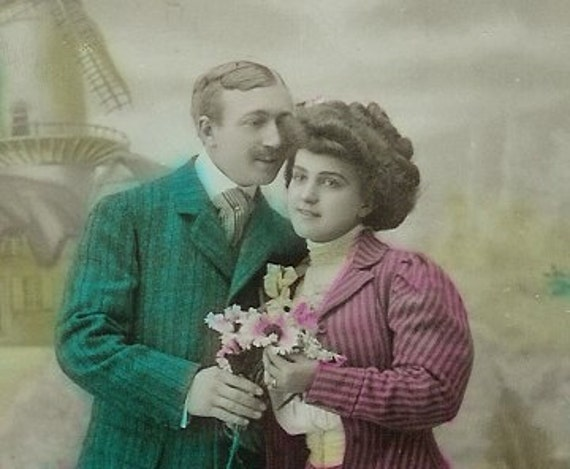 Antique French postcard, Victorian lovers out for a stroll, paper ephemera.