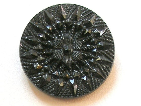 LG glass button, Vintage Czech with Victorian reproduction imitation fabric design.