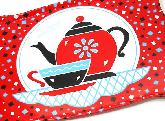 Toy tea tray with litho, Coffee for one by Ohio Art.