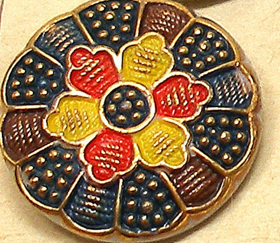 30s Czech glass button, Flower in blue, brown, yellow & red.