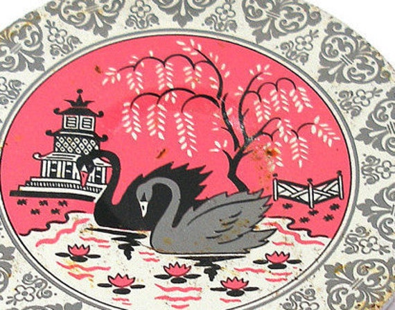 50's tin toy tea plate with Swans & Pagoda litho by J Chein.