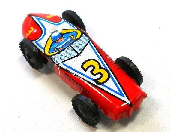 60s Mini tin toy race car in red, from Japan, #3.  Vintage fun!