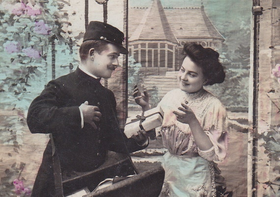 1910s French postcard, Edwardian special delivery, paper ephemera.