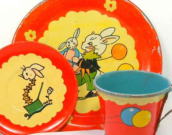 SCARCE 30's Tin Toy Tea Setting, Bunny Birthday Party by Fern Bisel Peat, 3 piece set.