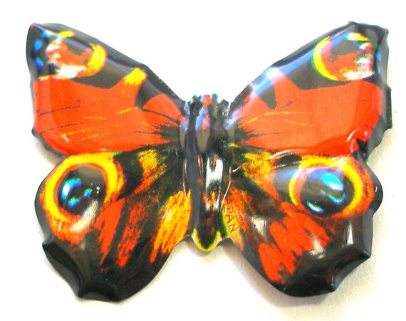 SALE Tin Toy BUTTERFLY brooch, Japanese metal jewelry in orange with blue. Price reduced.
