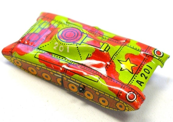 60s Tin Toy Army Tank, A201 with red & yellow green camouflage.