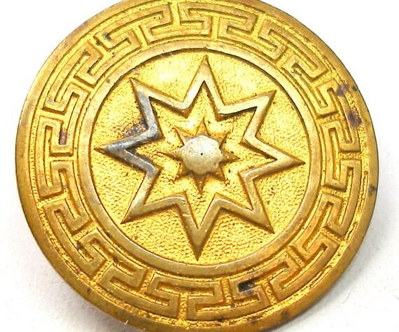 Antique metal button, Victorian star on gilt brass, c1800's