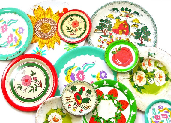 Tin Toy Tea Plates Spring Greens, 1950s graphics, Instant Collection.