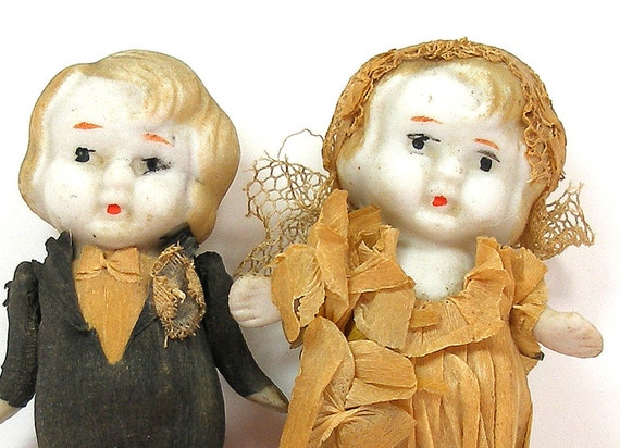 RESERVED 20s Wedding Dolls, Antique Bisque Frozen Charlotte & Charlie cake toppers, bride and groom. Reserved for Phyllis.