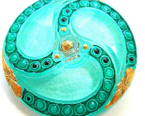 XL Czech glass button, Teal swirl, 36mm.