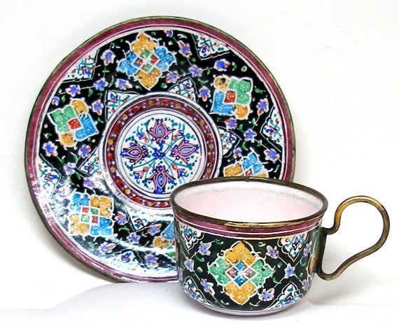 Persian Espresso Cup & Saucer, Enamel over copper demitasse.