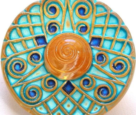 Atomic Burst Czech glass button, Turquoise & gold geometric 27mm.