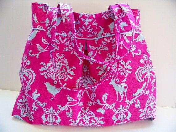 Tote / Diaper / Travel Bag / Canvas Tote / Linen / MESSENGER / Japanese Echino Linen Pink Damask