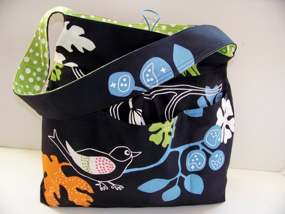 Canvas Diaper Bag Tote Bag Craft Bag Purse with birds - Reversible - Spirit Birds