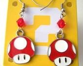 Red Mario Mushroom Nintendo Swarovski Geeky Earrings