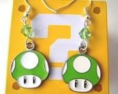 1-UP Mario Nintendo Green Mushroom Geektastic Swarovski Earrings
