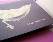 Happy Bird Day Screen Printed Birthday Card