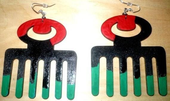 DUAFE Afro Pick Earrings