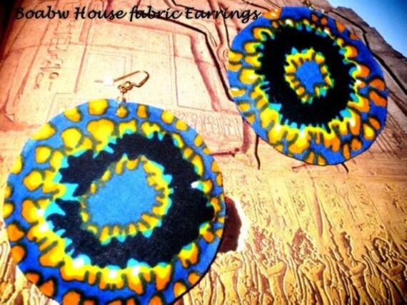 Black & Green Sun Fabric Earrings