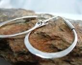 Hammered Silver Hoops with Arm Closure, Long Sterling Hoop Earrings Handmade Artisan Jewelry