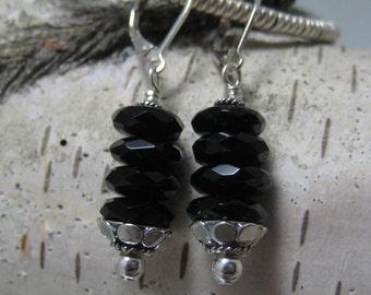 Black Onyx and Sterling Column Earrings