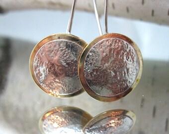 Layered Disc Drop Earrings in Sterling Silver and Brass, Mixed Metal Dangle Earrings,  Artisan Mixed Metal Earrings