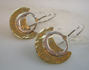 Brass Crescent and Sterling Earrings
