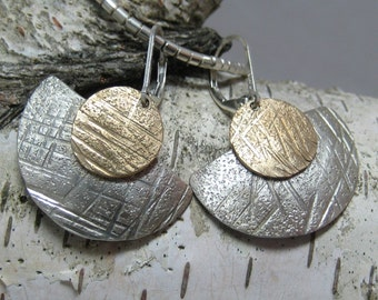 Sterling Fan Mixed Metal Earrings, Sterling and Brass Hammered Textured Dangle Artisan Earrings
