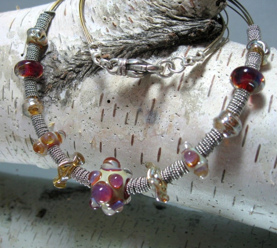 On Sale - Handmade Raspberry and Cream Boro and Sterling Artisan Choker Necklace, Handmade Artisan Beaded Choker