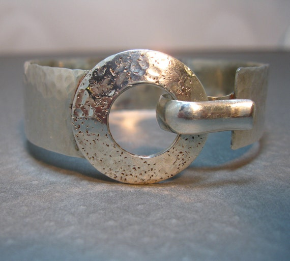 Textured Sterling Buckle Bracelet with Latch
