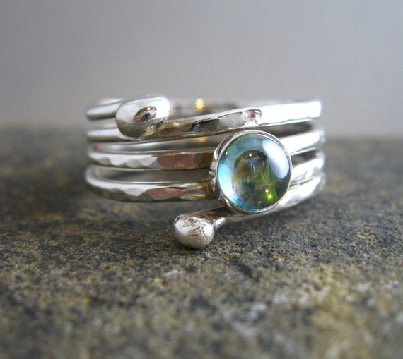 Artisan Handmade Sterling Hammered Multi Ring with Rainbow Topaz Cabochon, Artisan Hand Forged Jewelry