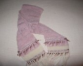 Gorgeous Wool Scarf Mauve and Cream with Beaded Ribbons over 6 feet long