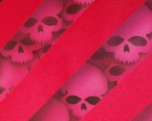Mens necktie, Skull Stripe tie. Red tie. Red ink skulls