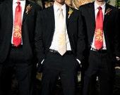 "Wedding Necktie, Five men's microfiber neckties. ""Lion Rampant"", print to order in colors of your choice - discount bulk price"