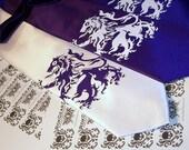 White mens lion rampant necktie, silk screen tie white and purple