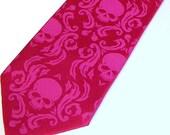 Mens elegant skull damask necktie, fuchsia tie fuchsia ink