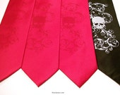 Mens necktie set of 4 microfiber skull ties, custom colors of your choice