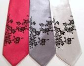 Floral necktie, men's silver tie black flower print, silkscreen wedding  neck tie