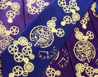 mens steampunk clock necktie, hand print silk screen - custom colors