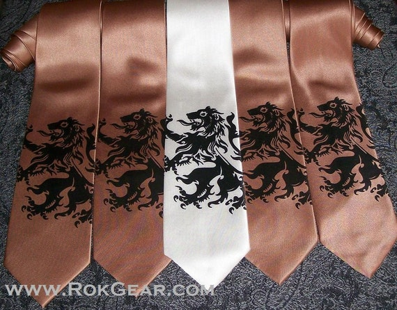 5 Mens Lion Rampant neckties custom colors available print to order by RokGear