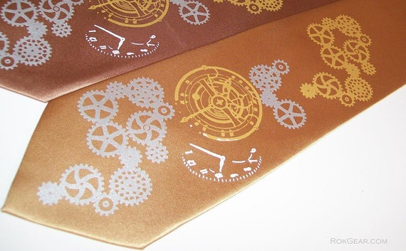 Mens Necktie,  hand print silkscreen LIMITED steampunk multi color pocket watch and gears print