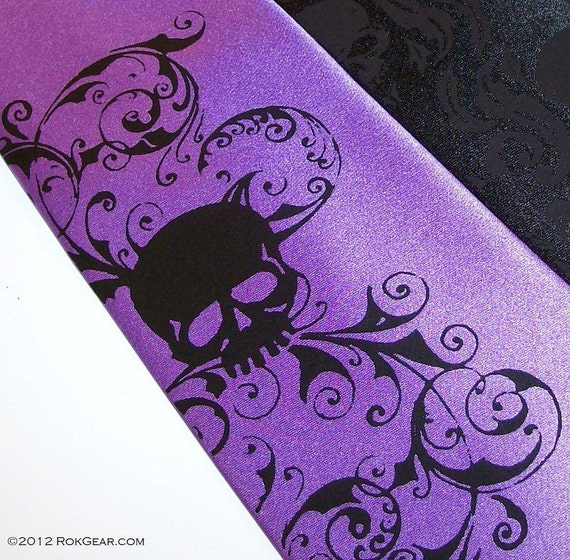 necktie mens purple microfiber distressed skull tie, custom colors available