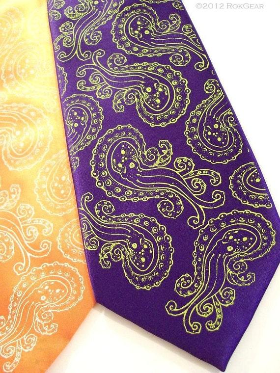 Dark purple and Lime  Necktie, Octopus tie design