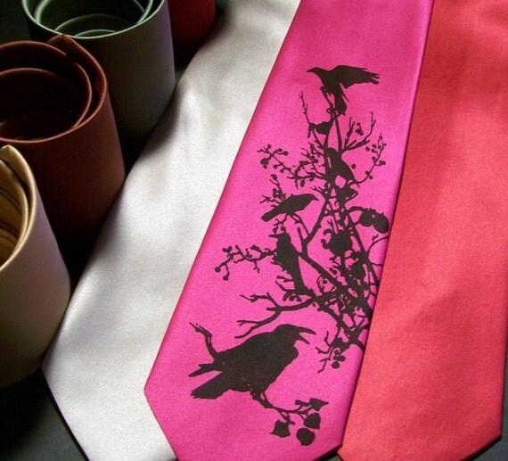 Necktie Eat Crow Raven Fuschia Microfiber Men's Gift