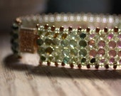 Hand beaded Tourmaline Bracelet with 14k gold filled Filigree clasp