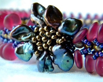 Cranberry and Grape Hand Beaded Bracelet
