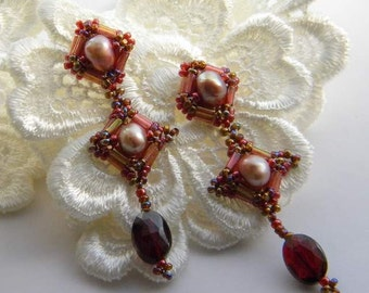 Garnet and Pearl Hand beaded earrings  Victorian Inspired