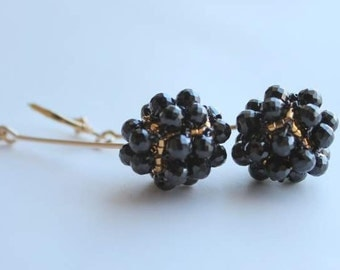 Hand Beaded Black Spinel and 14k gold filled earrings