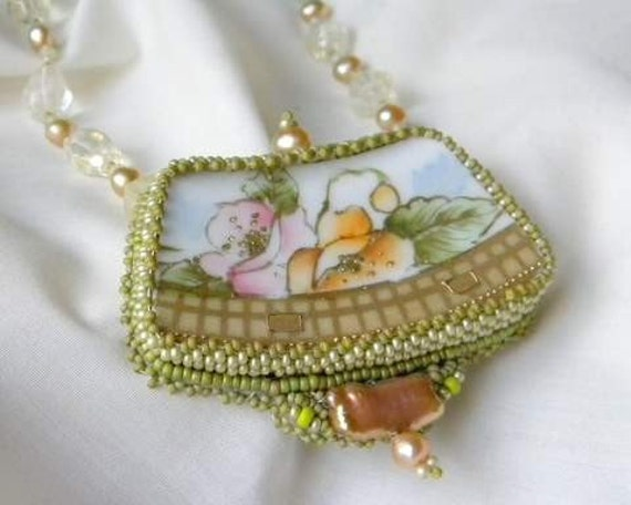 Handmade Bead embroidered Broken China  necklace made from Noritake China