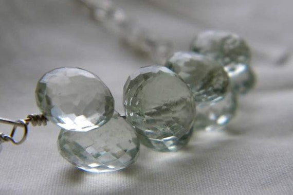 Green Amethyst Briolettes and Faceted  Moon stone and Sterling silver Chain Necklace